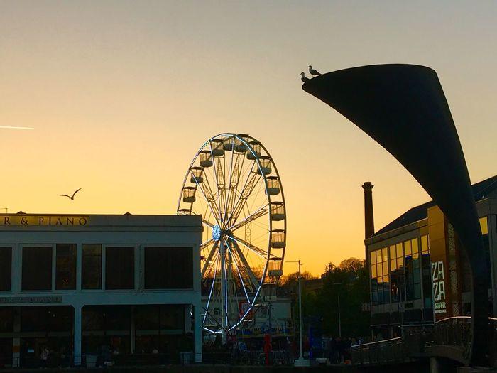 Bristol, England Ferris Wheel Silhouette Architecture Sunset