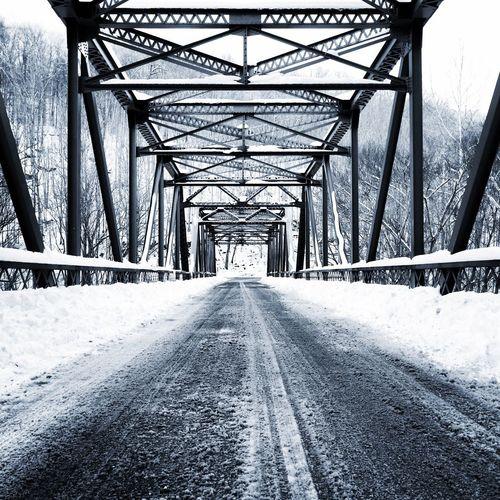 Metallic bridge during winter