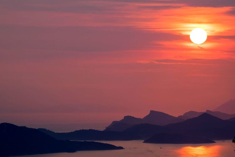Dubrovnik sunset 2018 Summer Summertime July EyeEm Best Shots EyeEmNewHere EyeEm Nature Lover Dubrovnik Croatia Travel Destinations Travel Landscape_Collection Landscape_photography Red Sky Orange Sky Sunset Collection Dramatic Sky Mountain Sunset Sky Landscape Mountain Range Dramatic Sky Romantic Sky Moody Sky Calm Silhouette Idyllic Outline Tranquil Scene