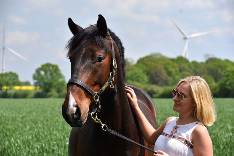 Live For The Story Horse Domestic Animals Horseback Riding Riding Blond Hair Brown Women Sky Day Real People Happiness Smiling Outdoors Beauty In Nature Young Adult Adult Horses Horse Photography  Feld Windrad Nature Naturelovers Animal Holsteiner