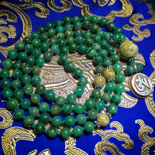 Karma Mala Karma-Mala Jade Rhyolite Tibetan  OM Pendant