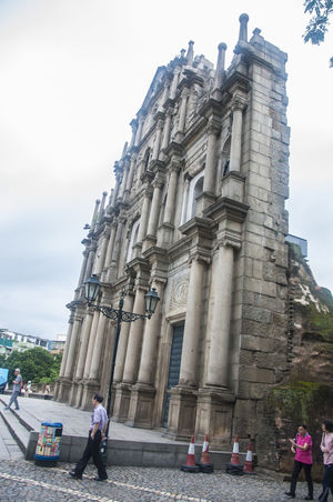 Architectural Column Architecture Building Exterior Cathedral Church Macau Outdoors Religion Ruins Of St.Paul's