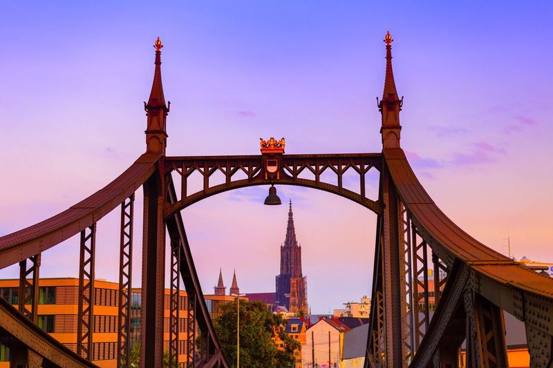 Ulm Neutorbrücke Architecture Built Structure Travel Destinations Tourism Building Exterior Famous Place International Landmark Connection Travel City Bridge - Man Made Structure Capital Cities  Tower Engineering City Life Spire  Sky Romantic Sky Outdoors Tower Bridge