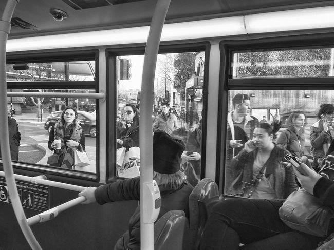 London Bus Portrait Transportation Sitting Vehicle Interior Mature Adult Women Men Passenger Adult Window Mode Of Transport Train - Vehicle Travel Mature Men Bus Land Vehicle Leisure Activity Mature Women Togetherness Lifestyles Medium Group Of People Blackandwhite Blackandwhite Photography Black & White Bus Postcode Postcards