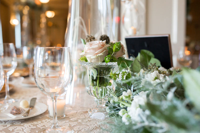 Flower Decorations On Dinning Table