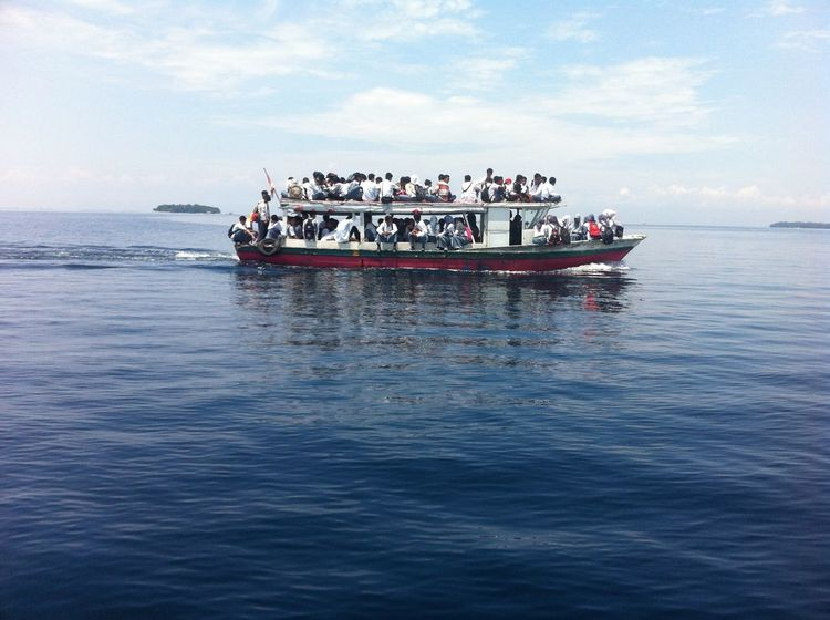 #EyeEmNewHere #student Day Large Group Of People Mode Of Transport Nautical Vessel Outdoors Real People Sea Sky Transportation Water