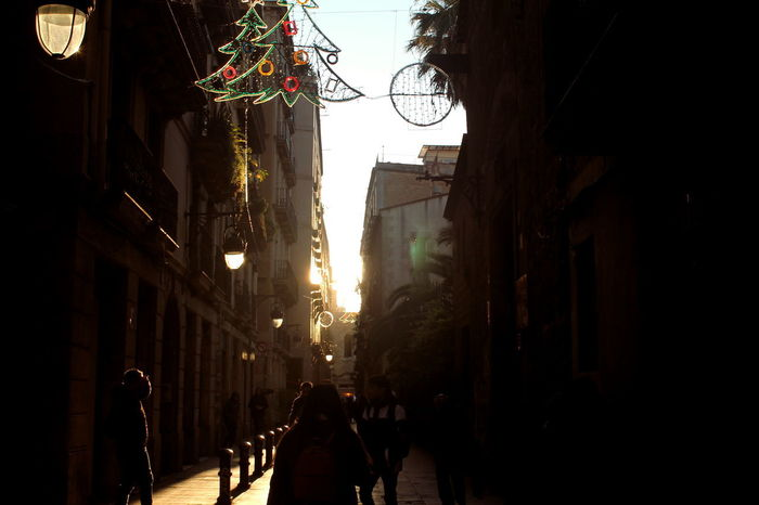 Barcelona Christmas SPAIN Winter Sport Architecture Building Exterior Built Structure City Hanging Illuminated Night Outdoors Real People Small Street Street Sunset