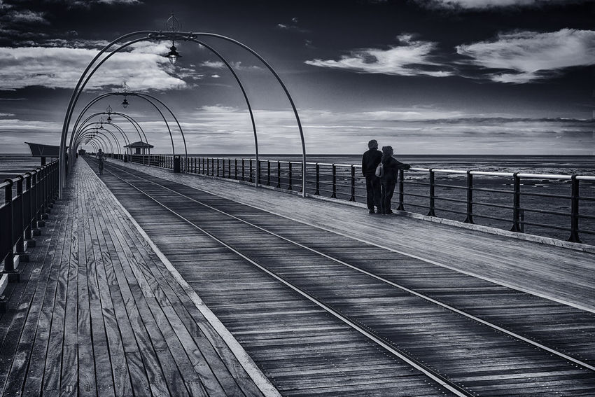 Loads Of Old Birds At Southport @tillytallulah You Would Fit Right In Blackandwhite Cloud - Sky Day Horizon Over Water Landscape Landscapes Malephotographerofthemonth Nature Outdoors Railing Real People Sea Seascape Sky Water