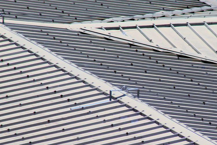 High angle view of uralite tiled on building