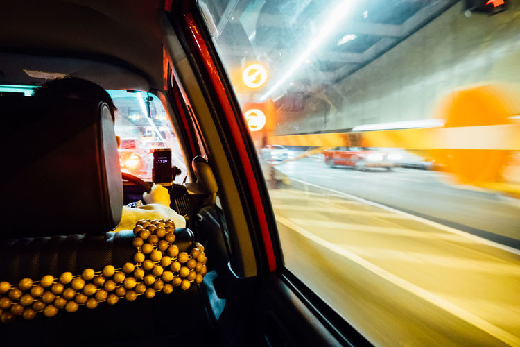 Car City Cross-Harbour Tunnel Driving HongKong Taxi Transportation Travel Vehicle Interior 的士 紅的 紅磡海底隧道 香港
