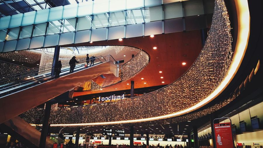 Architecture Indoors  Low Angle View Built Structure Escalator Zürich Airport Christmas Lights Christmas Decoration Decoration Lights Decoration Decorations For Xmas Décoration De Noël Lights Lights On
