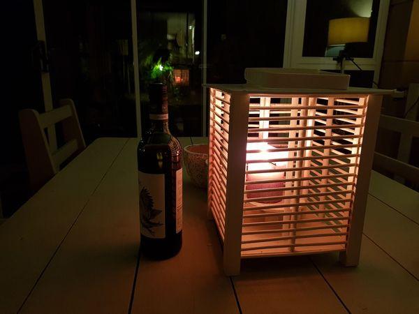 Night Illuminated Candle Night Wine Romantic❤
