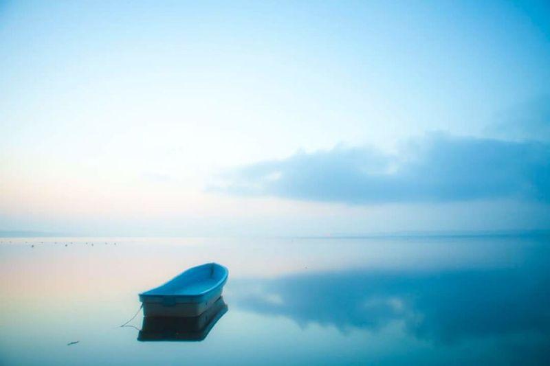 Quiet Morning. Water Reflection Blue Morning Lake Boat Aomori Japan