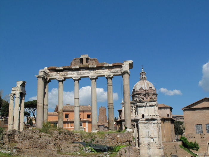 Roman forum against sky in city
