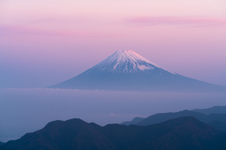 Mt fuji against sky during sunset