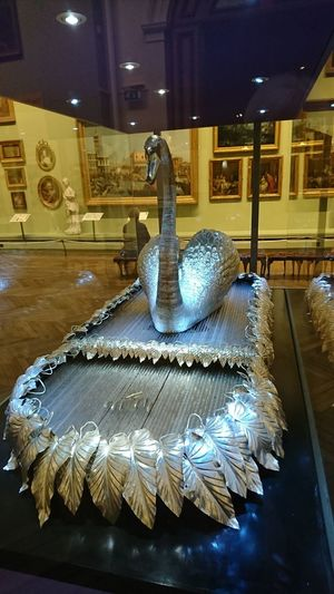 Indoors  Museum Animal Representation Close-up Silver Colored Swan Automaton Co Durham Animal Themes Art And Craft Sculpture Luxury