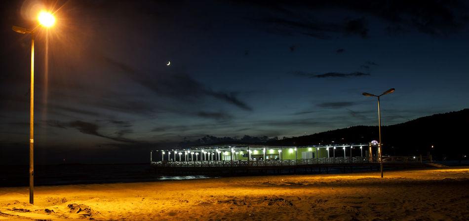 Beach Beauty In Nature Cloud - Sky Moon Nature Night Outdoors Sea Sky Street Light Water