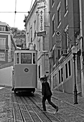 Blackandwhite City City Life Lisboa Portugal Lisbon Lovemycity Mode Of Transport People Public Transportation Railroad Track Streerphotography Street Street Photography Streetphoto_bw Transportation Walking
