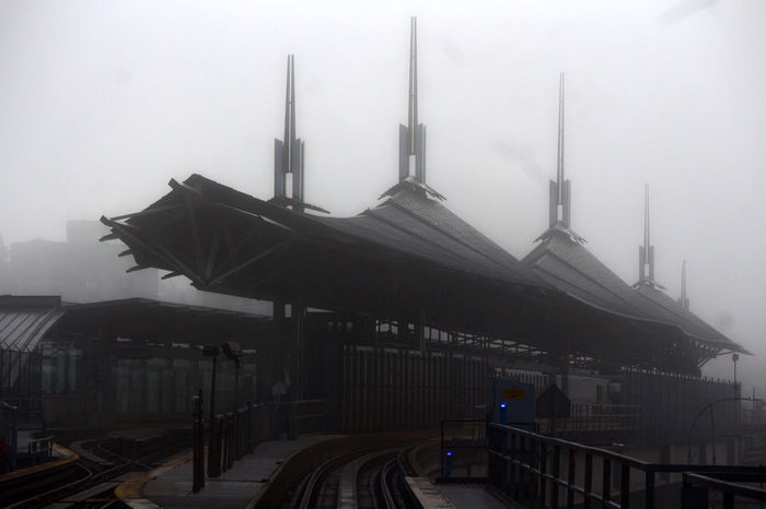 Skytrain station in Coquitlam B.C. Coquitlam Skytrain Station I Coquitlam Smog Industry Factory Politics Cold Temperature Day No People Outdoors