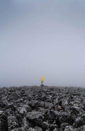 Banne D'Ordanche AuvergneRhoneAlpes Auvergne No Visibility Mountain Fog Rocks Sky Nature Land Day Tranquility Scenics - Nature One Person Rock Environment Rock - Object Landscape Outdoors