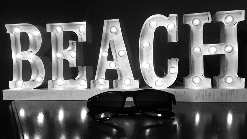 Beach Word Letters Light Lights Marquee Marquee Letter Black & White Black And White Old-fashioned Old Hollywood Light And Shadow Light Reflections