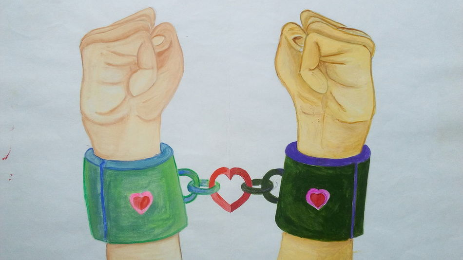 Human Hand Love Love Painting Water Color Painting Art By Vivek Kandeyang Love Chains