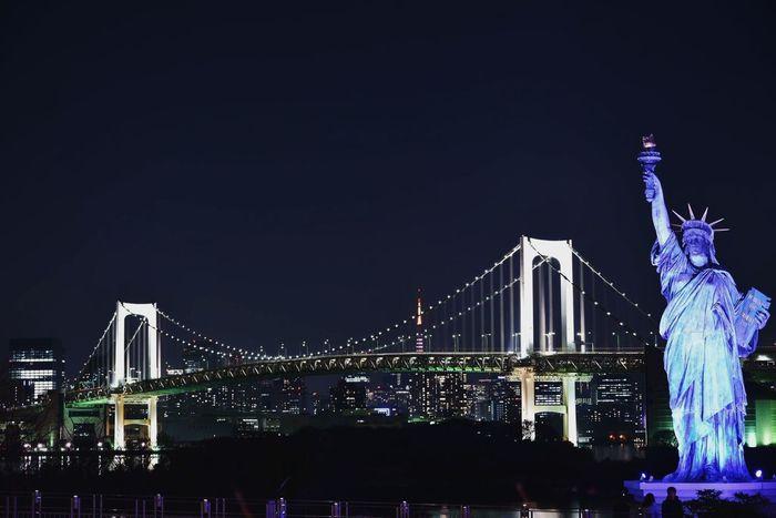 Night Architecture Bridge - Man Made Structure Illuminated Built Structure Suspension Bridge City