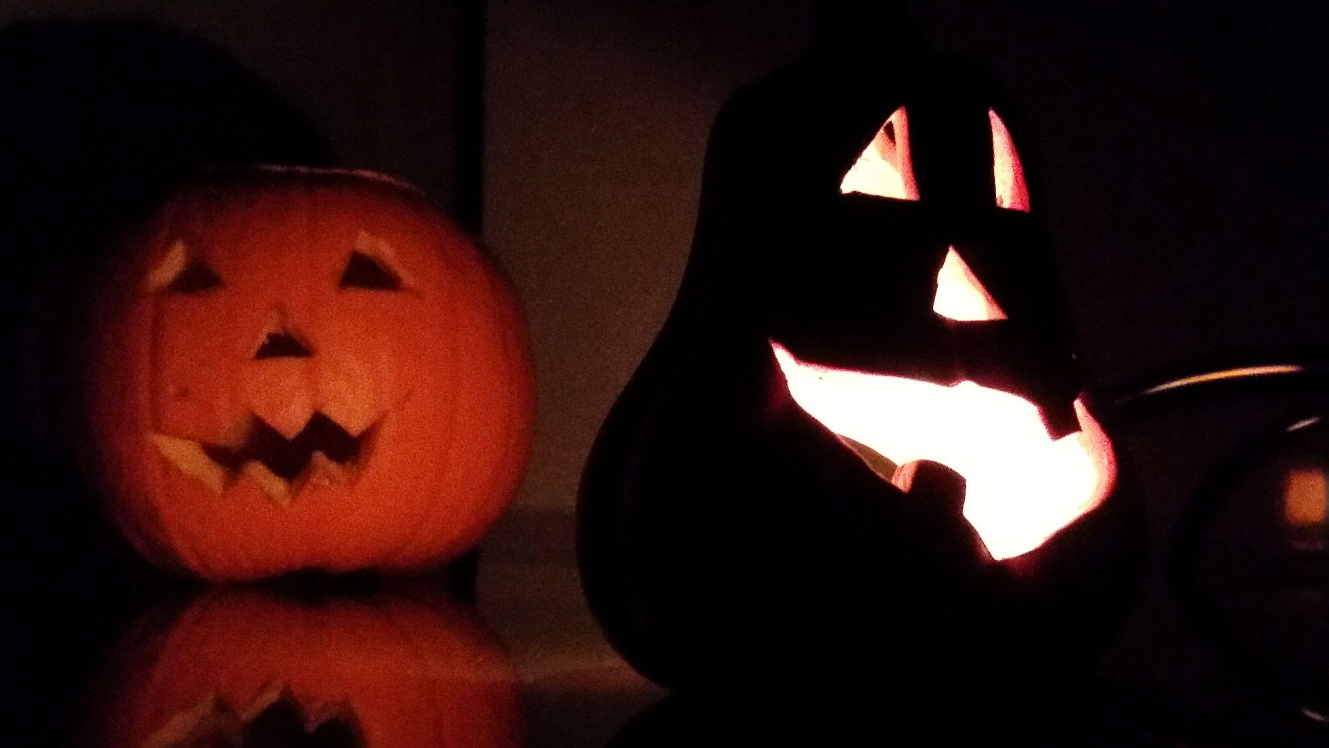 pumpkin, halloween, jack o lantern, anthropomorphic face, orange color, illuminated, celebration, cultures, spooky, tradition, no people, night, close-up, indoors