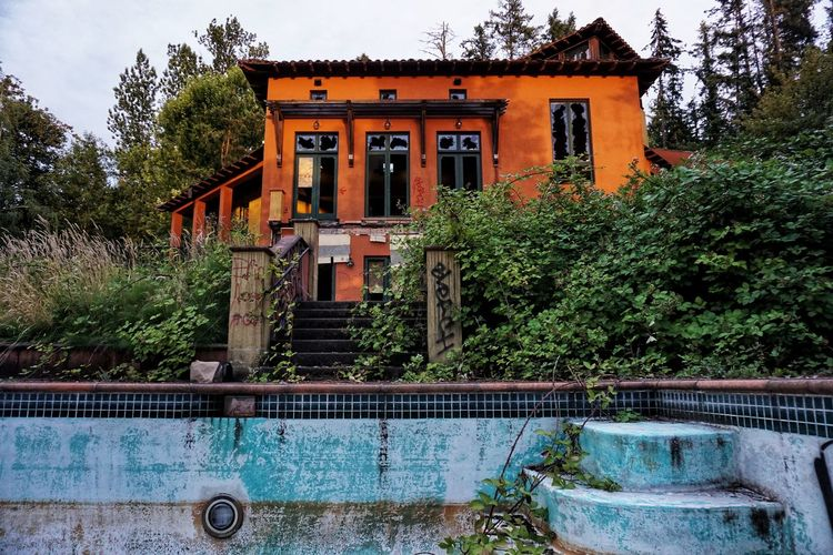 Abandoned Broken Window Broken Glass Pacific Northwest  Overgrown Abandoned Places Modern House Mansion Pool Tree Sky Architecture Building Exterior Built Structure Bad Condition Deterioration