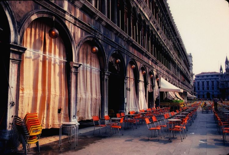 Venezia1979 Venezia Italia Sanmarcosquare Venice Italy Light Corridor Chair Architecture Table Empty Built Structure Travel Destinations Building Exterior Day No People Outdoors Sky