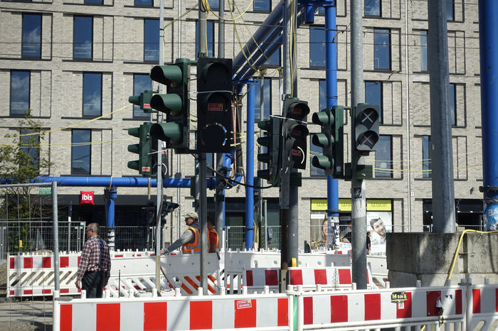 road sign confusion Architecture Berlin Building Exterior Built Structure City Confusion Day No People Outdoors Red Light Safety