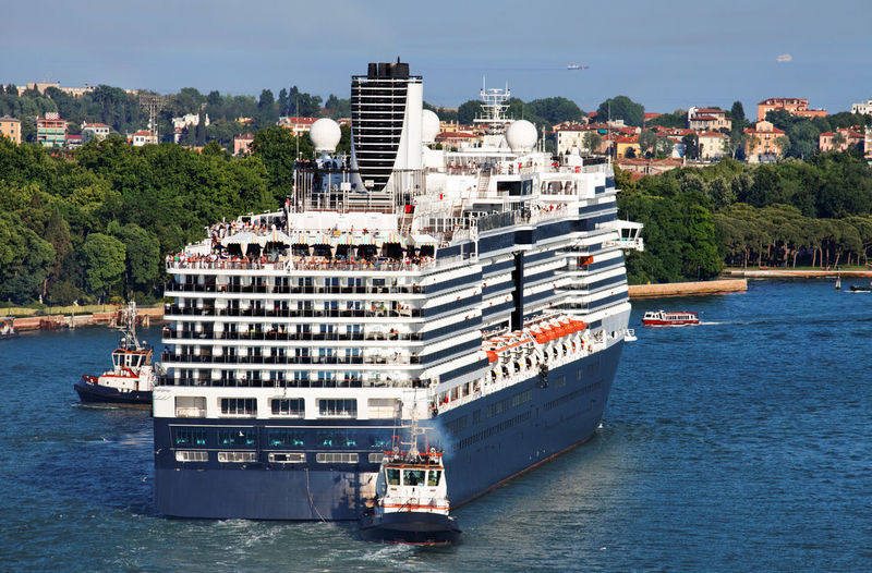 High angle view of cruise ship on sea