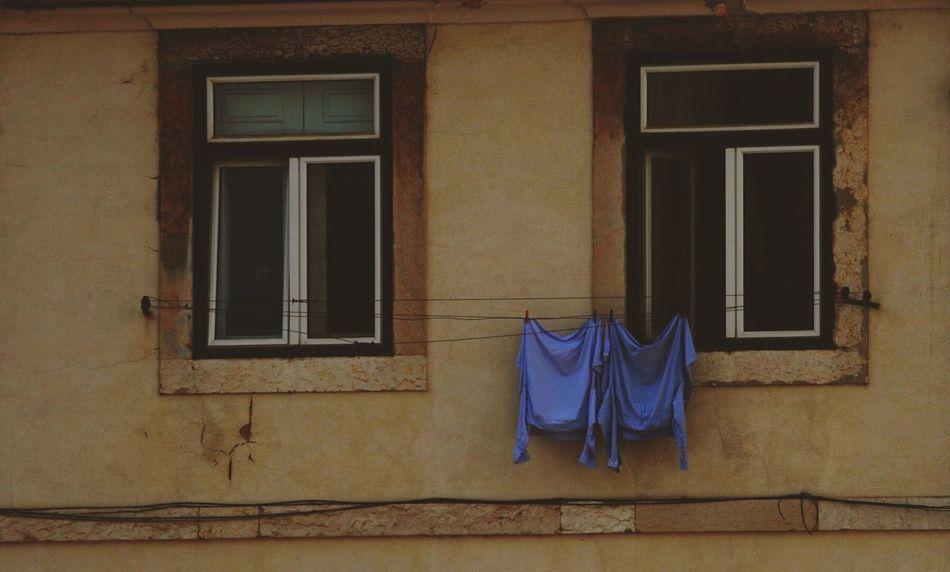 Blue Azul Ropa Clothes Ventanas Windows Lisbon Lisboa Two Is Better Than One