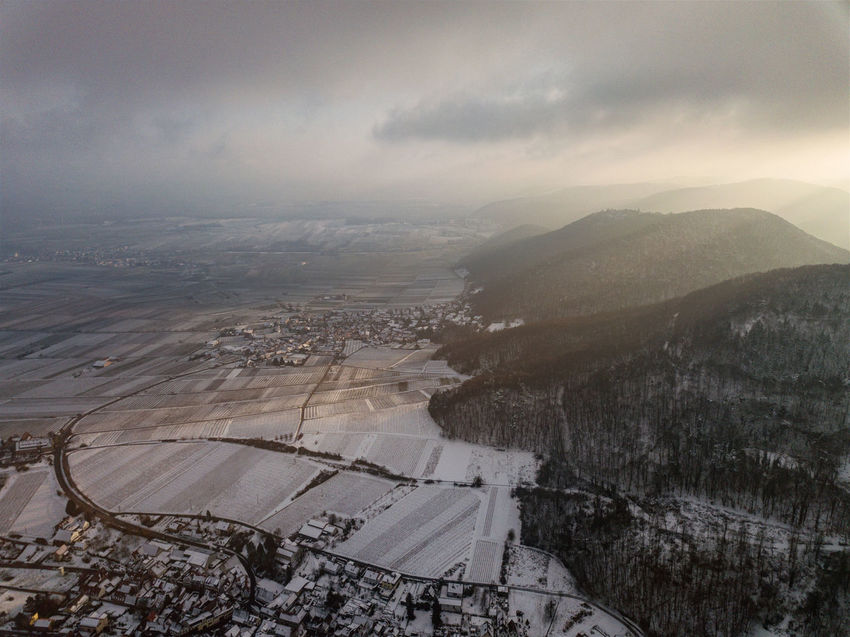 Rhine Valley Vineyards  Winter Aerial View Beauty In Nature Cloud - Sky Day Forest Germany Helicopter View  Landscape Mountain Nature No People Outdoors Patchwork Landscape Scenics Sky Tranquil Scene Tranquility Vineyard Water
