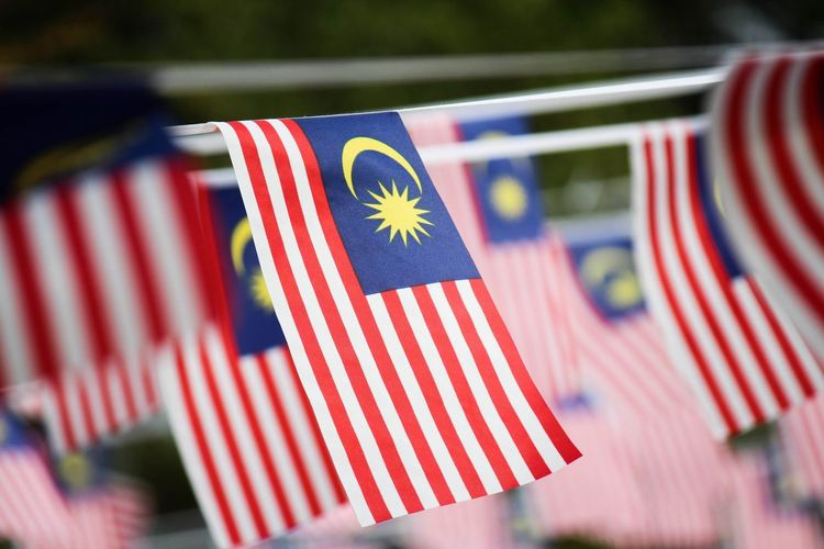 Close-up of malaysian flags