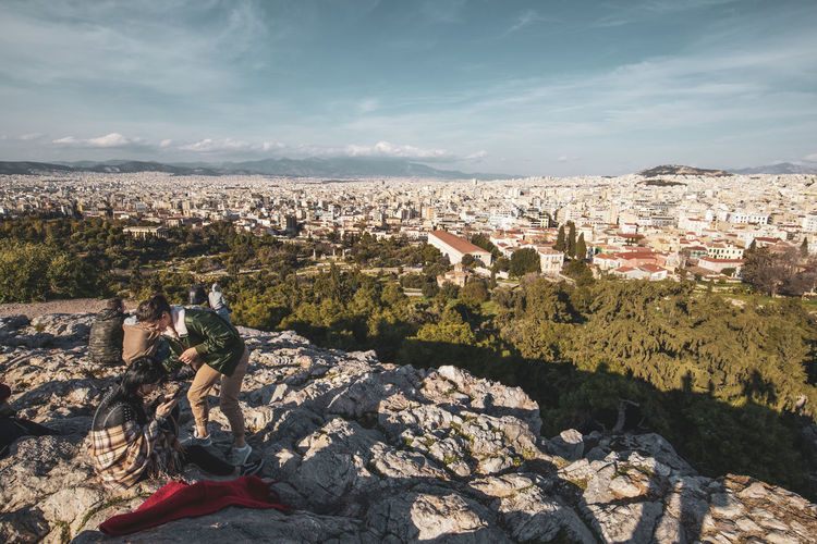 Athens Athens Greece Athens, Greece Acropolis Building Exterior Architecture Built Structure Sky Nature City Cityscape Building Cloud - Sky Residential District Day Rock Rock - Object Solid Real People Crowded Lifestyles Crowd Sunlight People Outdoors TOWNSCAPE