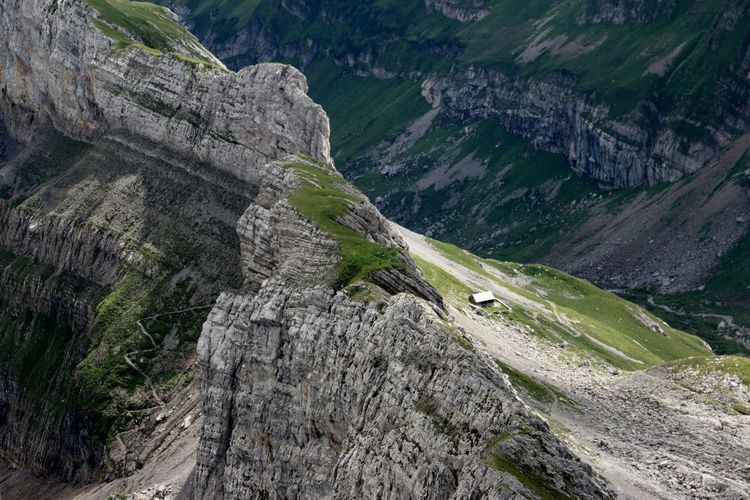 Lost In The Landscape Switzerland Alps Säntis Trails Beauty In Nature Cliff Day House Mountain Nature No People Outdoors Scenics Steep Steep Cliff Swiss Alps Switzerland Valley