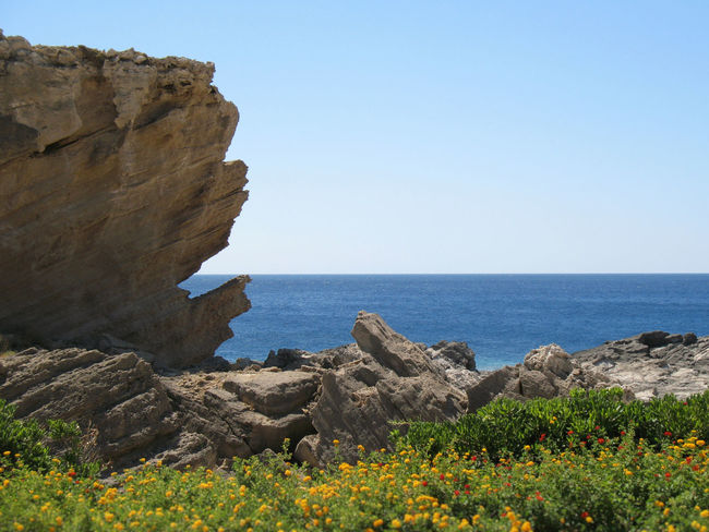 Kallithea Springs, Rhodes, Greece Beauty In Nature Clear Sky Coastline Color Of Nature Flowers No People Noedit Nofilter Rock - Object Rock Face Sea Sky Sun EyeEmNewHere