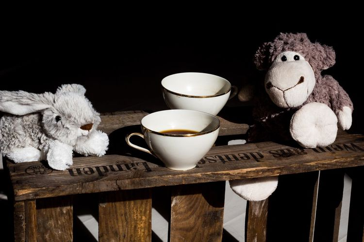 Stuffed Toy Coffee Cup Studio Shot Black Background Cuddly Toy Tea Bunny  Sheep Tea Cup Coffee Coffee Break Coffee Time Wooden Cup Table Retro Styled Tea Time Wood EyeEmNewHere