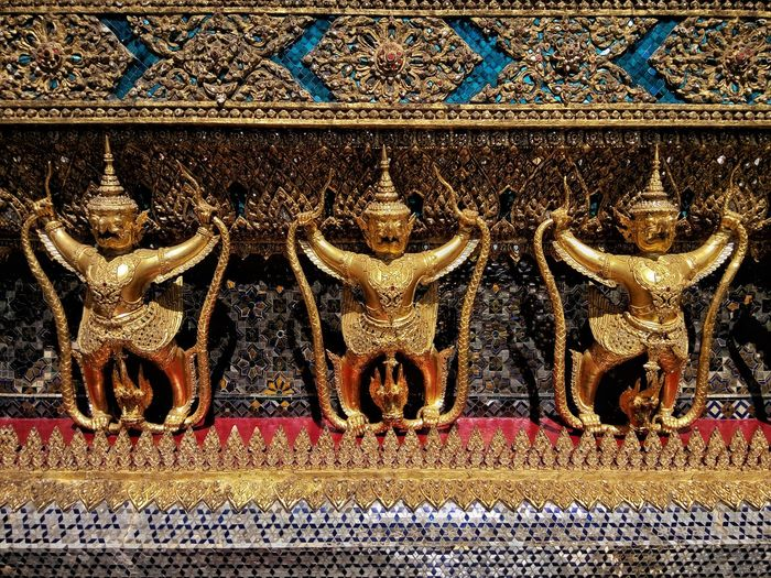 Garuda Gold Colored Place Of Worship Gold No People Close-up City Day Wat Phra Kaew Temple Bangkok Thailand Design Ornaments Colorful Travel Neighborhood Map