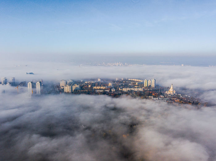 Foggy morning in Minsk Minsk Aerial View Architecture Building Building Exterior Built Structure City City Life Cityscape Cloud - Sky Copy Space Day Fog Foggy Foggy Morning High Angle View Nature No People Office Building Exterior Outdoors Pollution Residential District Sky Skyscraper Smoke - Physical Structure