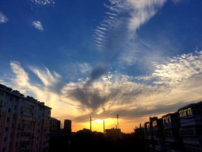 Sunset Sky Cloud - Sky Cloud Orange Color Blue Urban Skyline Autumn Clear Sky Sky And Clouds