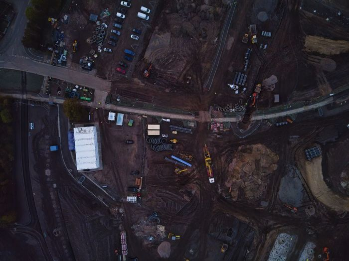 High angle view of abandoned building at night