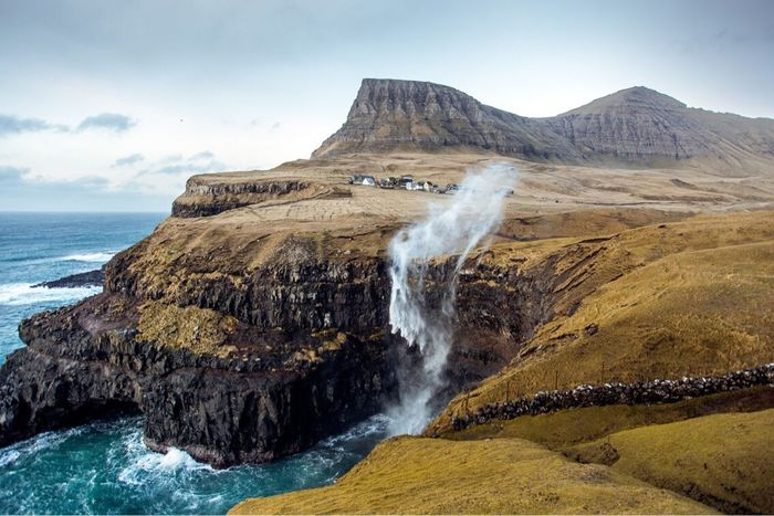 Gasadalur Waterfall Faroe Islands Scenics Beauty In Nature Outdoors Nature Sea Water Landscape No People Day Mountain Beautiful Atlantic Ocean Village The Great Outdoors - 2018 EyeEm Awards