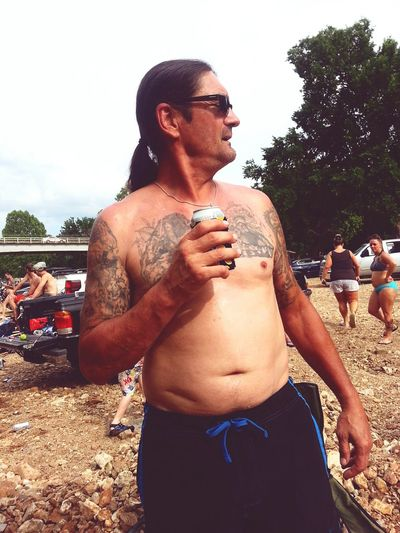 The Essence Of Summer Photography Is My Escape From Reality! My Uncle OutLaw Creekside Check This Out Great Day  Summer2016 Drinking Beer Outdoor Photography Friends And Family Joplin, Mo Every Picture Tells A Story