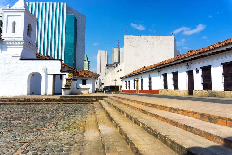 Steps at iglesia de la merced church against sky