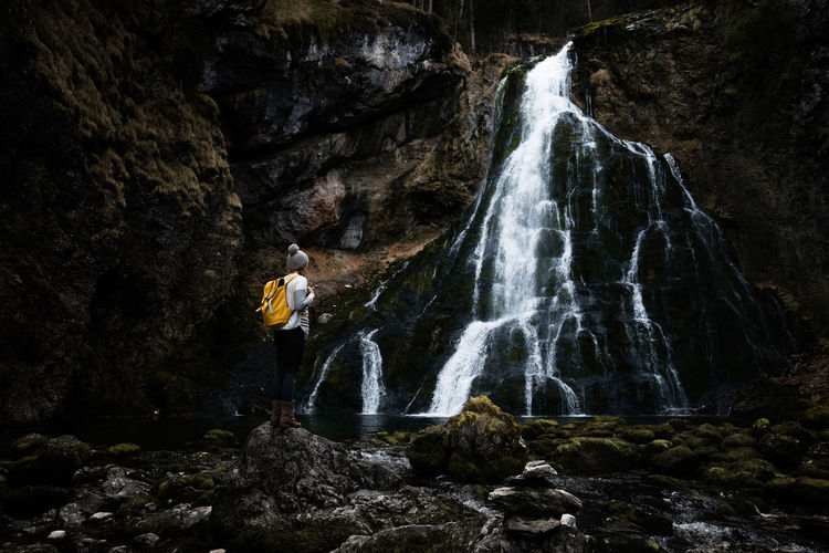 Adult Adults Only Beauty In Nature Full Length Gollingen Gollingerwasserfall Nature Nature Night One Person Outdoors Outdoors Photograpghy  People Power In Nature Rock - Object Rock Climbing Waterfall Young Adult The Great Outdoors - 2017 EyeEm Awards