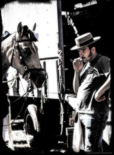 Man and horse ready to enter the arena for a Portuguese Bullfight Bullfighting Community Country Life Horse Man And Horse Portugal Portuguese Bullfighting Ribatejo Tradition Traditional Hat
