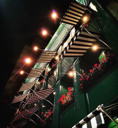 Balcony Flowerpot Front View Awning Lights Nightshot Night Spotlight Windows Italian Restaurant Luces Balcones Maceta Toldos Instapic Instacool Instamood