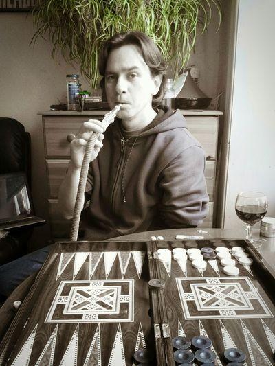 Backgammon Hookah Houseplant Wine Monochromatic Pondering Next Move
